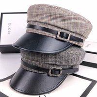 بخيل حافة القبعات جين-swhbias كاب المثمن للنساء منقوشة أقنعة جلدية sboy 2021 خمر الخريف الشتاء القبعات السيدات قبعة