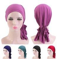 Простые хиджабы капота шляпа ислама мусульманская голова шарф головной крышка тюрбана шляпа шапка кондитерская эластичная шарф Hijab Bandanas Headwrap Headdress