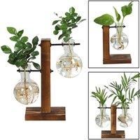 Planters & Pots Terrarium Hydroponic Plant Vases Vintage Flower Pot Transparent Vase Wooden Frame Glass Tabletop Plants Home Bonsai Decor
