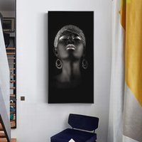 Paintings Sexy Black Woman With Silver Jewelry African Art Posters And Prints Canvas Wall Pictures Home Decor