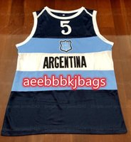 Retro Manu Ginobili # 5 Team Argentina Classic Basket Basket Jersey Mens Cucita NAVY BLU Numero personalizzato Numero e nome