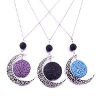 Ожерелья подвеска 8 мм черный лава матча эфирное масло диффузор Rou'n'n'd каменные выдолбленные из сплава луна ожерелье для женщин ювелирные изделия