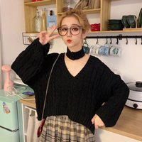Korean Girl Loose Tops Female Sexy Autumn Specials Sweatshirt Black Oversized Red Sweater Girls New Streetwear