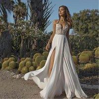 2021 Vestido de noiva Boho Sexy Side Slit Beach Noiva Vestido Espaguete Correias Vestido Vestido de Noiv