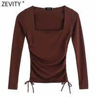 Zevity 2021 Donne Simply Square Collar Solid Elastic Pleated Short Chic T Shirt Ladies Manica lunga Casual Slim Crop Tops LS7650