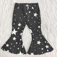 Vendre des enfants Automne Pantalon Long Baby Girls Black Jeans avec Stars Kids Haute qualité Bell