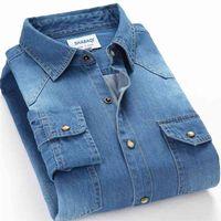 Schinteon primavera otoño hombres denim camisa delgada manga larga suave 100% algodón Dos bolsillos delgado ligero elástico jeans vaquero 4xl 210325