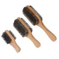 Männer Eber Borsten Haarbürste Natürliche Holzwelle für männliche Styling Bart Haarbürste kurze lange dicke lockige wellenförmige Bürsten
