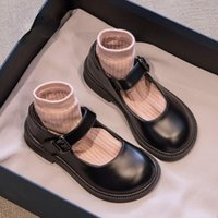 Flat Shoes Girls Princess Autumn Black Small PU Leather Childrens Soft Sole Student Show Single All-match