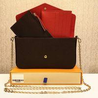 أحدث حقائب اليد المحافظ حقائب أزياء المرأة حقائب الكتف جودة عالية ثلاثة قطع حقائب مزيج B حجم 21 * 11 * 2 سم 61276 مع مربع