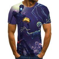 Мужские футболки, 2021 мода повседневная футболка 3D напечатаны с короткими рукавами круглые шеи с тыквенным фонарем странный узор