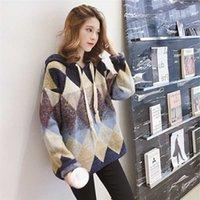 Siddons яркий шелковый маленький свежий свитер женский новый сладкий свободный пуловер с капюшоном ленивый середины длинного корейского трикотажа