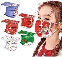 wholesale Christmas Disposable 3 layers Kids fashion mask  Star Elk Designer children Face Masks Non-Woven Anti-Dust top quality