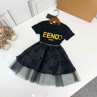 2021ss Baby Girl Dress fen and di Designers Clothes Kids cotton summer girls boutique clothing short sleeve dresses china direct black skirt fen1