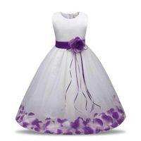 Girl's Dresses 2021 Petal Girls Party Dress Summer Wedding Flower Princess Children Clothing Birthday Kids For Girl Clothes