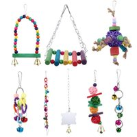 Other Bird Supplies 8Pcs Parrot Cage Toys Hanging Chewing Ladder Swing Mirror Bell Stand