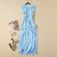 2020 New Spring Summer O Neck Sleeveless Panelled Lace Milan Runway Dress Designer Dress Brand Same Style Dress 12-15.4