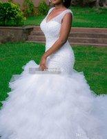 Robe de mariée Sirène plus Taille Taille Perle Sheer Deep Vec Cou Backless Corset Ruffles Tulle Jardin Robe de mariée