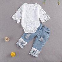 Women's Tracksuits 2021 Fashion Autumn Kids Baby Girls Clothes Sets Lace Flowers Long Sleeve Romper Tops Blue Denim Pants 2pcs