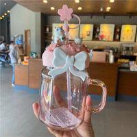 600 мл розовый сакура милый кошка Starbucks соломенные кружки стеклянные холодные напитки чашка подарочного продукта