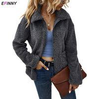 Ливская девушка зимние куртки женские пушистые игрушечные искусственные флисовые молнии садрест свободно теплое пальто леди одежда женщин