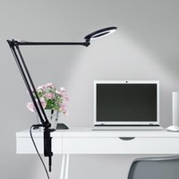 Table Lamps Artpad 8W LED Magnifying Desk-Lamp Bedroom Long Arm Eye Protection Clip Lamp For Reading Skincare Beauty Ring Touch