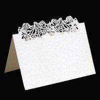 100pcs 포도 나무 잎 레이저 테이블 이름 장소 카드 레이스 메시지 설정 에스코트 카드 결혼 생일 파티 호의 장식 인사말