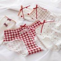 Women's Panties DINGDNSHOW 3Pcs Bow Girls Mid Rise Cotton Lace Print Flor Briefs Plaid Breathable Underwear Women