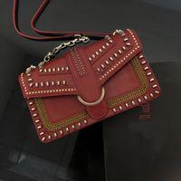 2021 المرأة الصغيرة جلد طبيعي حقيبة يد الكتف حقائب crossbody حقيبة فاخرة ماركة الوردي الحب الطيور خمر المسامير الأزياء حقائب اليد