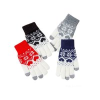 Party Favor Creative Fashion Snowflake Printing Gloves Mobile Phone Touch Screen Knitted Winter Thick & Warm Adult Glove Men Women T2I52976