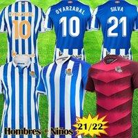 21 22 Gerçek Sociedad Futbol Formaları 2021 2022 Camisetas De Fútbol Portu Willian J. Silva Oyarzabal Merino Zubeldia ISAK Adam Kids Kiti Eve Uzakta Futbol Gömlek