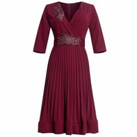 Ethnic Clothing African Dresses For Women Style Classic Elegant Ladies Tunic Pleated Office Lady Midi Dress Africa Vetement Femme