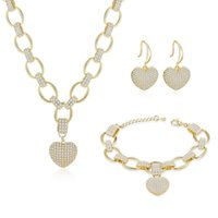 Earrings & Necklace High Quality Jewelry Sets For Women Gold Silver Color Heart Pendant Bracelet Bridal Wedding Accessories Bijoux Gift