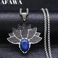 펜던트 목걸이 스테인레스 스틸 블루 천연 석재 Lapis Lazuli 실버 색상 요가 꽃 로터스 목걸이 여성 / 남성 쥬얼리 칼라 N3603S0
