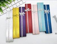 Envoltura de caja de regalo de la joyería para la pulsera Reloj Collar Aniversario Regalos de boda Paquete con el tamaño de lazo con lentejuelas 4x21x2..5 HWD8276