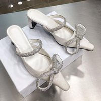 Slippers Sexy White Glitter Cloth Crystal Butterfly-knot High Heel Leather Lining Square Toe Woman Dress Shoes Summer Mules