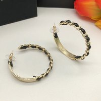 Luxury Designer Stud For Women Fashion Leather Hoop Earrings 925 Silver Needle High Quality