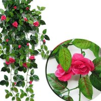 인공 교수형 장미 꽃 파티 정원 장식 7 색 친화적 인 잎 화환 식물 포도 나무 잎 DIY DHB6734