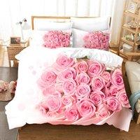 Set di biancheria da letto Pink Rose Flowers Cover Duvet Set Variopinto Biancheria da letto floreale Biancheria di lusso Comforter per adulti Camera da letto
