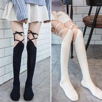 Lolita Cross Strap sobre as meias do joelho longa tubo jk uniforme feminino japonês altas meias fofas meiery