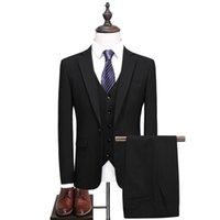 Solid Color Three Pieces Groom Wedding Suit (coat + Vest Pants) Official Business Slim Fit Banquet Professional Formal Wear Men's Suits & Bl