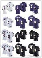 "Homens Mulheres Jovens Baltimore ""Ravens"" 8 Lamar Jackson 9 Justin Tucker 5 Marquise Brown 7 Trace McSorley Black Football Football Jersey"