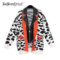 TwOTwinstyle Hit Farbe Lose Pullover Für Frauen Revers Langarm Drucken Leopard Pullover Weibliche Mode Neue Kleidung Frühlingsflut 210428