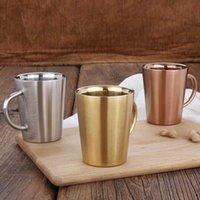 Stilvoller einfacher Edelstahl Kaffeetasse Doppelschicht Anti-Burn Cup Tragbare Tasse mit Griff Umweltschutz Trinkwasserbecher