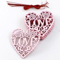 Adornos de amor adornos de madera Decoraciones de la boda Valentines Day Regalos 10 unids / lot Supplies de bodas Decoración de fiesta 8cm * 8cm * 0.3cm OWE8716