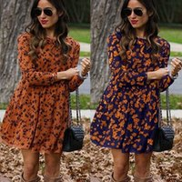 Printed dress with round collar and long sleeves for women dresses women vintage dress CN(Origin) G1011
