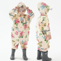 Coat Unisex Kids Floral Printed Long Sleeve Hooded Jackets Waterproof Raincoat For Toddler Infant Baby Girls Boys Poncho#g4
