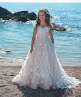 Girl's Dresses Lace Flower Girls Dress Beaded Bridesmaid Kids Wedding Clothing Infant Toddler First Birthday Party Baby Baptism Clothes