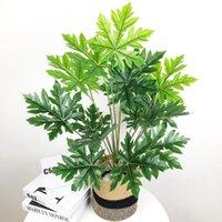 65 سنتيمتر 18 رؤساء كبيرة النباتات الاصطناعية الغابة الاستوائية monstera وهمية النخيل شجرة الأخضر البلاستيك يترك ندفة الثلج ورقة للديكور ديكور المنزل