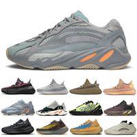 Con caja nueva kanye 700 v1 v2 mnvn reflectante brillante azul carbón azul sol tinte sólido gris hombres zapatos zapatillas de mujer zapatillas de deporte T5-B3